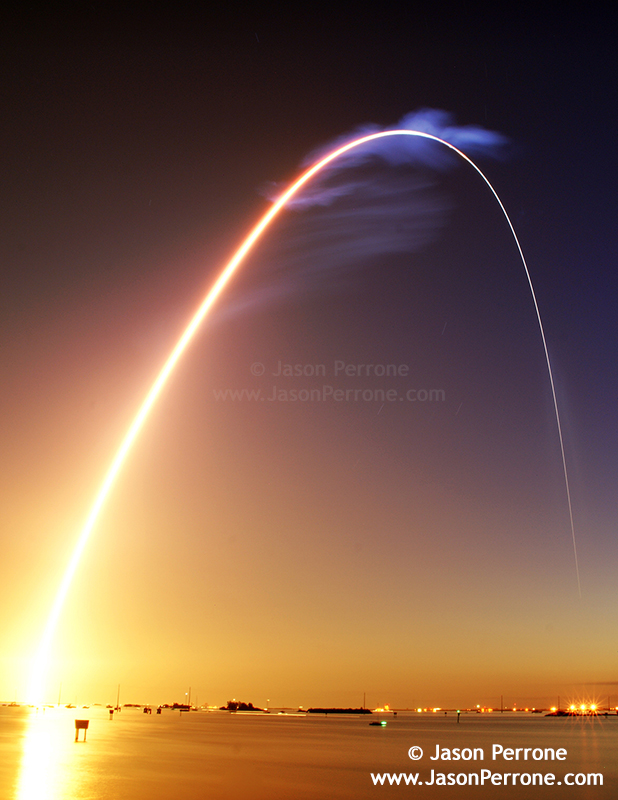 Long exposure images of space shuttle discovery launching from Cape Canaveral, Florida just before sunrise.