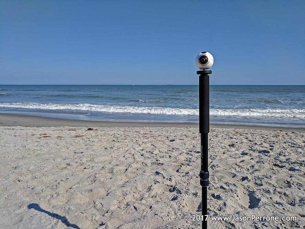 Samsung Gear 360 camera on Cocoa Beach, Florida.