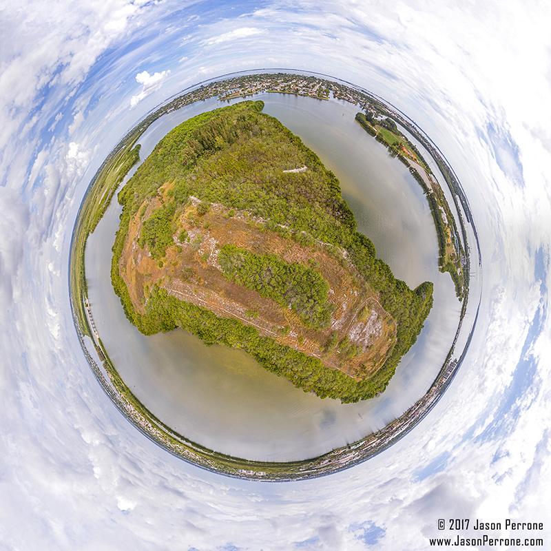aerial 360 degree little planet image above kiwanis island in merritt island, florida