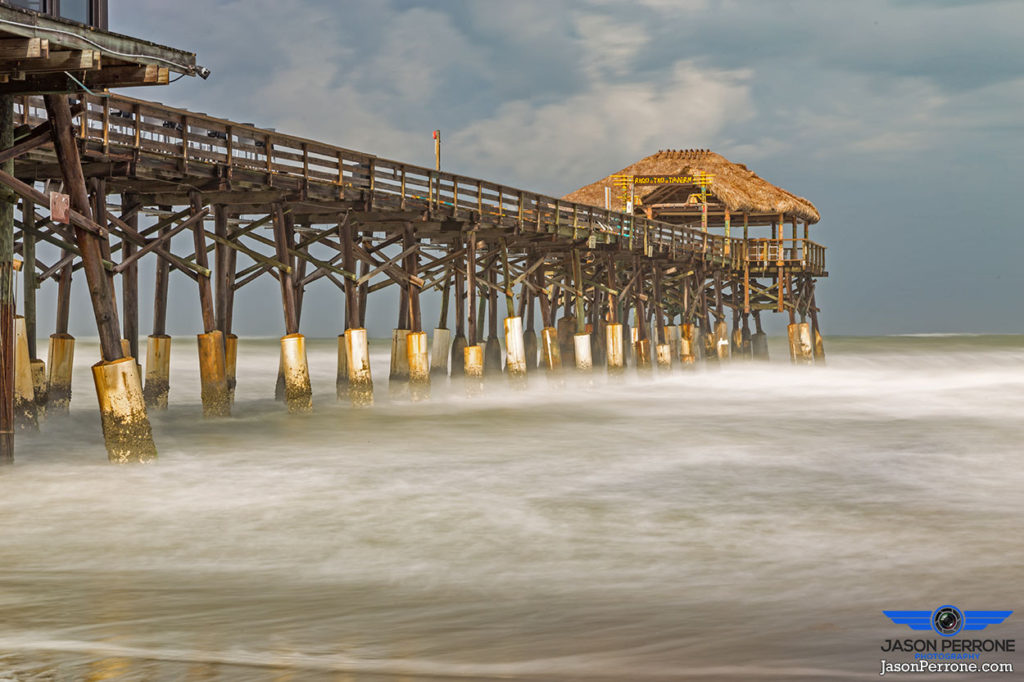 Long exposure image at the world famous Cocoa Beach Pier in Cocoa Beach, Florida