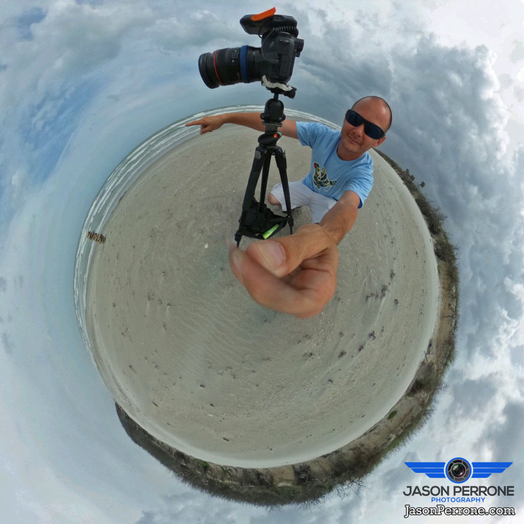 Using the Ricoh Theta S camera to capture a selfie while I capture a long exposure image on Cocoa Beach, Florida.