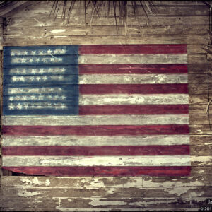 American Flag painted on an old building in Merritt Island, Florida.
