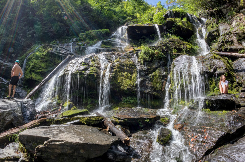 Screen shot from a 100 megapixel 360-degree panoramic image at the Catawba Falls in North Carolina.