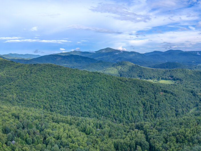 Aerial panoramic view of the Blue Ridge Mountains.