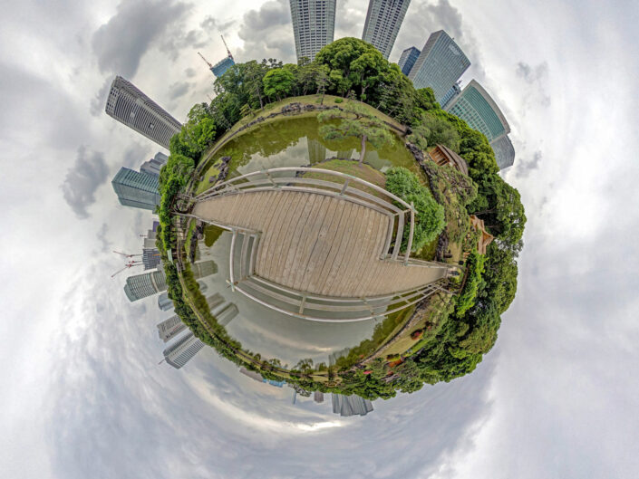 Little Planet / Tiny Planet image was taken at the Hamarikyu Gardens in Tokyo, Japan. Image May 2018