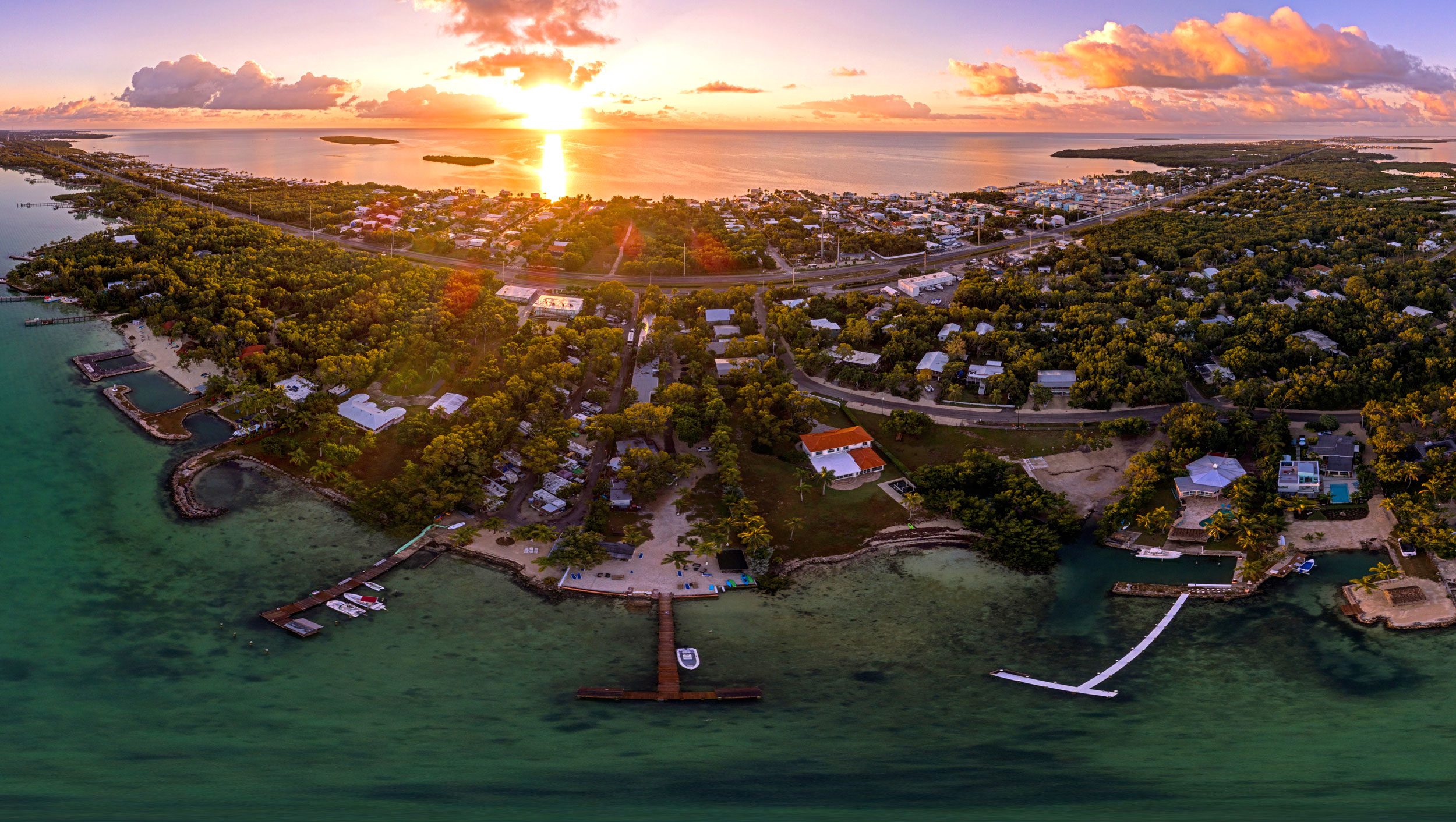 Panoramic view over Key Largo, Florida at sunrise. Photo 2019