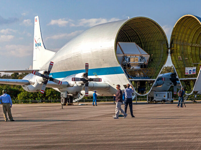 Panoramic image of NASA super guppy plane arriving at Kennedy Space Center with the Orion Space Capsule. Image Feb. 1st, 2016