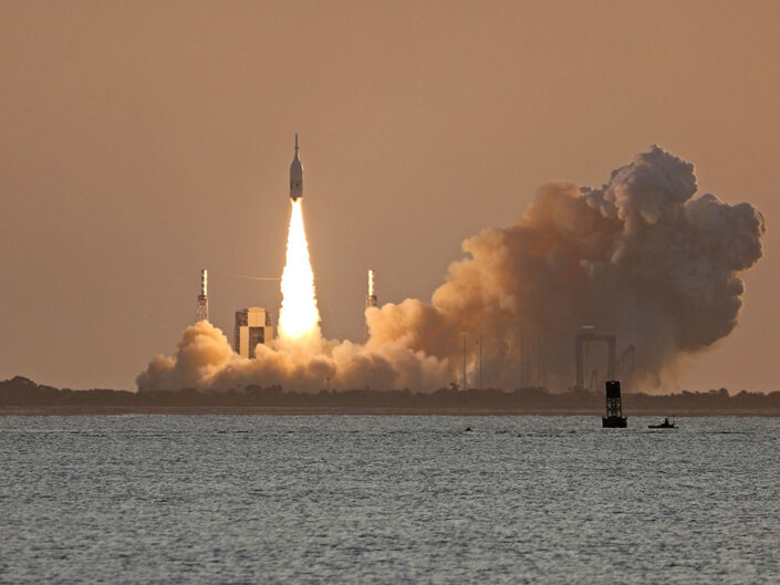 NASA's Orion Abort Test AA-2 mission launch from Cape Canaveral, Florida. Launched from Launch Complex 46 at the Cape Canaveral Air Force Station, AA-2 was a successful test mission of the abort capabilities of the capsule.