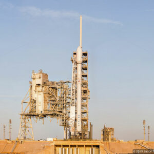 SpaceX Falcon 9 at launch complex 39-A just after sunrise for the SES-10 mission.