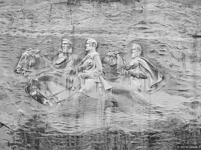 High-resolution image of the carving at Stone Mountain in Georgia. Photo 2010. Original photo 48 megapixels
