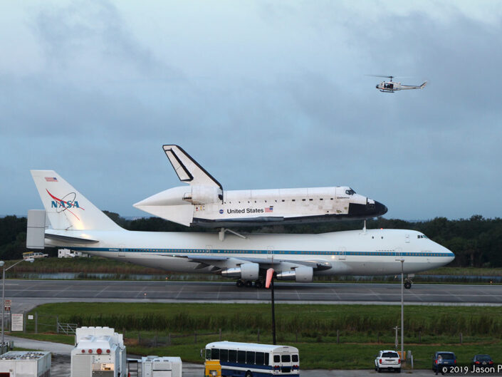 Space Shuttle Endeavour departs from Kennedy Space Center for the last time on 9/19/2012.