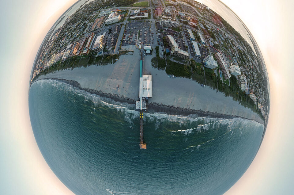 Aerial little planet/tiny planet view of the world famous Cocoa Beach Pier at sunset on May 16th, 2019. Original image size is 25020 pixels x 25020 pixels. If you would like to purchase a print, please contact me.
