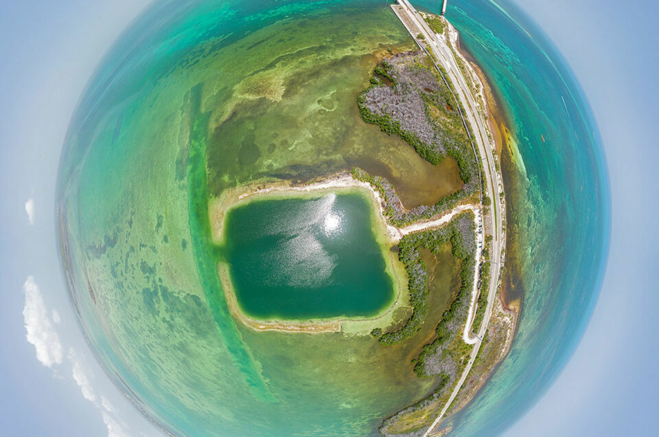 Aerial 360 degree little planet or tiny planet image above Horseshoe Beach on Big Pine Key in the Florida Keys.