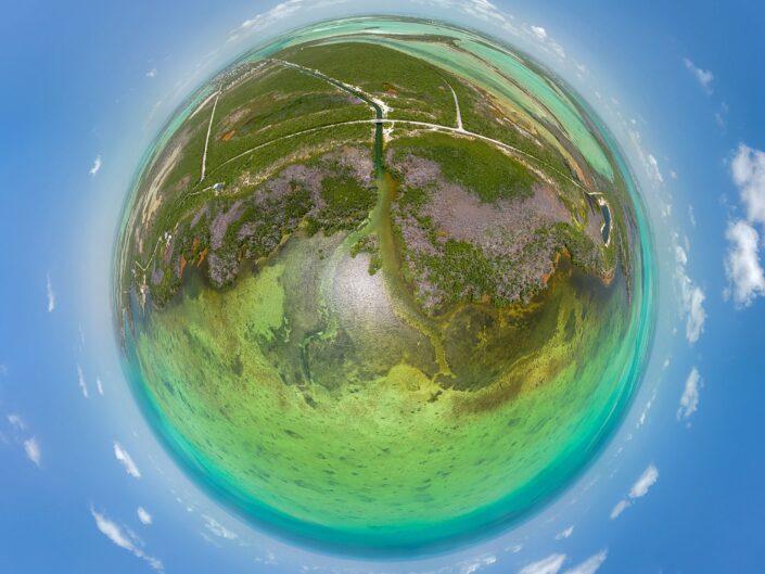 A little planet image above Sugarloaf Key in the Florida Keys.