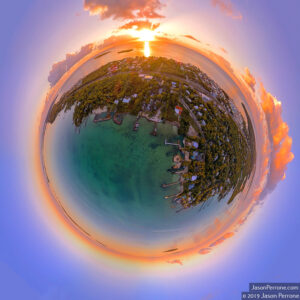 Little Planet / Tiny Planet view over Key Largo at sunrise. Photo 2019