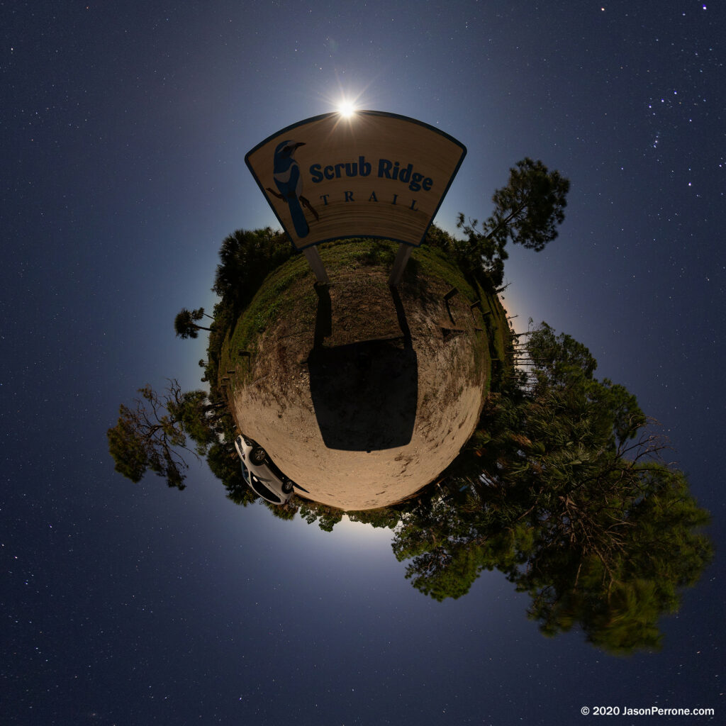 little planet projection at the trail head of the Scrub Ridge Trail in the Merritt Island Wildlife Refuge in Florida.
