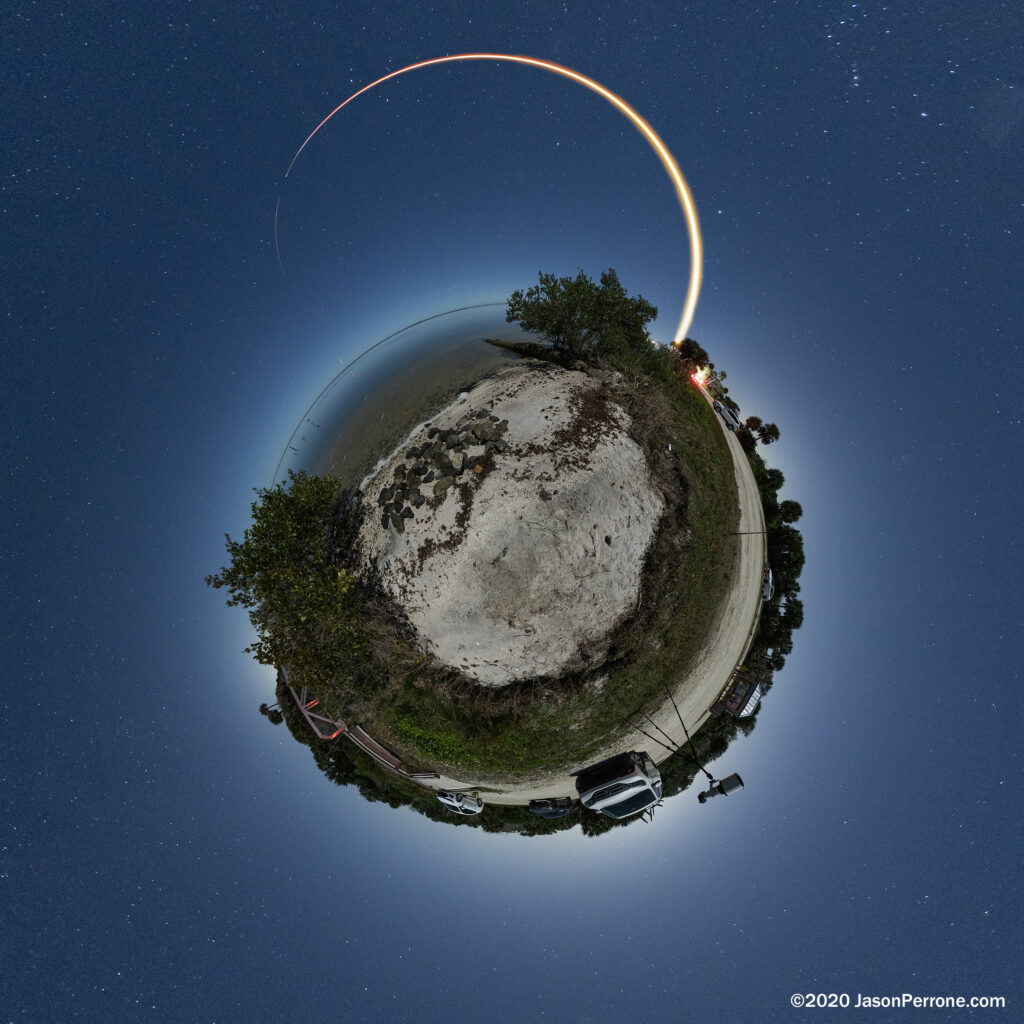 A little planet projection of the SpaceX Starlink 2 launch on Jan. 6th 2020